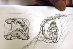 En snøhule behøver ikke være stor. Sam van Haaster har tegnet hulen han overnattet i etter å ha blitt tatt av skred på Saltfjellet i 2006. (Foto: Erik Veigård / SCANPIX)