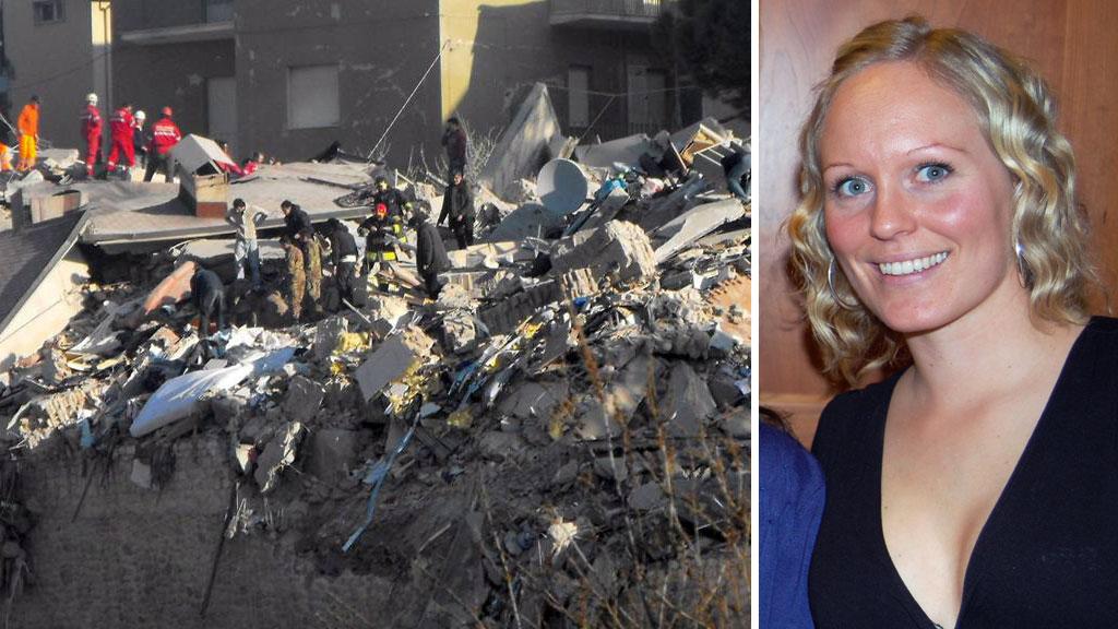 Hege Østgaard er på ferie i L'Aquila. Hotellet hun, broren og faren bodde på er like ved dette studenthjemmet som raste fullstendig sammen.  (Foto: ANSA ABRUZZO/EPA/PRIVAT)