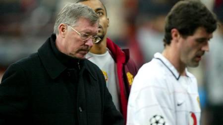 OPPTURER OG NEDTURER: Sir Alex Ferguson og Roy Keane etter 0-1-tap mot Milan i 2005.  (Foto: MARTIN RICKETT/EPA)