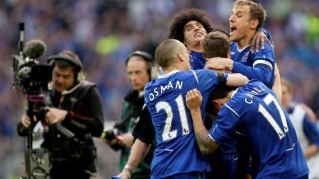 JUBEL-SCENER: Everton er klar for FA-cupfinalen.  (Foto: Darren Staples/REUTERS)