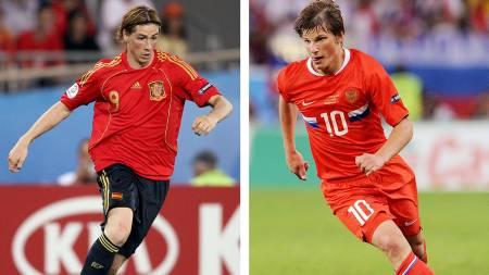 LANDSLAGSSTJERNER: Fernando Torres og Andrej Arsjavin (Foto:   JAVIER SORIANO/AFP)