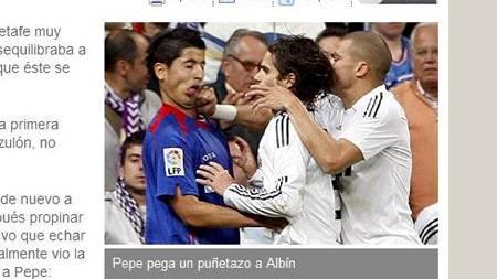 SLAG? Pepes knyttneve var i alle fall i Juan Albíns ansikt.   (Foto: Faksimile: Marca/)