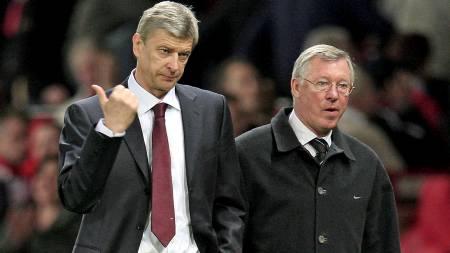 IKKE PERLEVENNER: Sir Alex Ferguson og Arséne Wenger har hatt sine feider etter at franskmannen kom til England. (Foto: MAGI HAROUN/EPA)