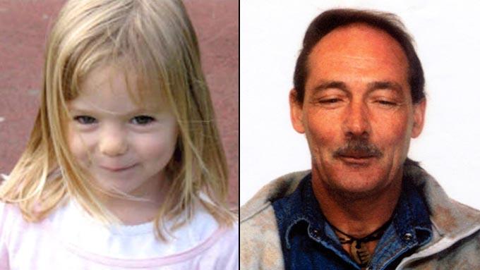 Bildemontasje: Madeleine McCann forsvant 3. mai 2007. Mannen i bildet er Raymond Hewlett. Han er kjent sexforbryter og bodde ikke langt unna McCann-familiens feriested. Bildet av Hewlett er fra 1995. (Foto: Scanpix)