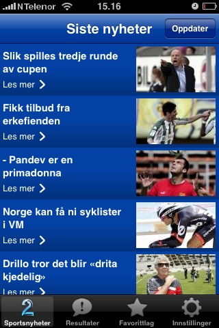 Fotballnyheter for iPhone