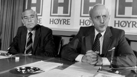 1981:  Pressekonferanse med Høyre-politikerne Jo Benkow (tv) og  Kåre Willoch. (Foto: Thorberg, Erik/NTB scanpix)