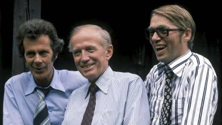 Borgerlig regjeringsalternativ foran valget i 1977. Partiformennene Erling Norvik (H), Lars Korvald (KrF) og Gunnar Stålsett (Sp).  (Foto: Hammerstad, Svein/SCANPIX)