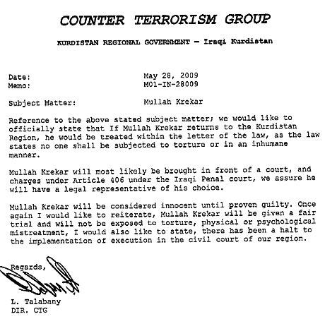 Denne skriftlige garantien er ifølge den amerikanske TV-kanalen NBC utstedt av myndighetene i den kurdiske regionen i Irak.