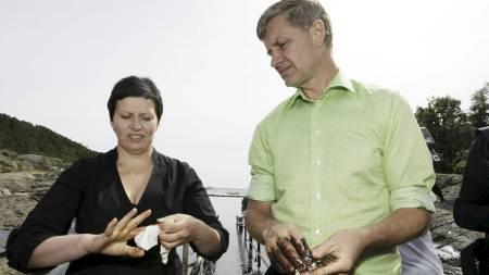 Kyst- og fiskeriminister Helga Pedersen og miljøvernminister Erik Solheim var på befaring i det tilgrisete området lørdag ettermiddag.  (Foto: Bendiksby, Terje/SCANPIX)