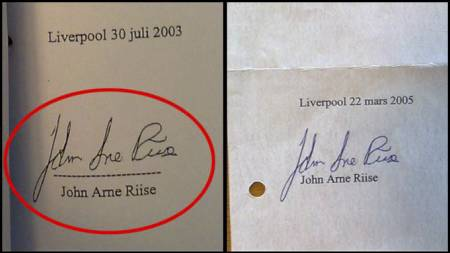 FORFALSKET?: Er John Arne Riises underskrift til venstre en identisk kopi av underskriften til høyre, eller er det to separate navnetrekk? Det er et av de sentrale spørsmålene i saken mellom Einar Baardsen og John Arne Riise.  (Foto: TV 2/)