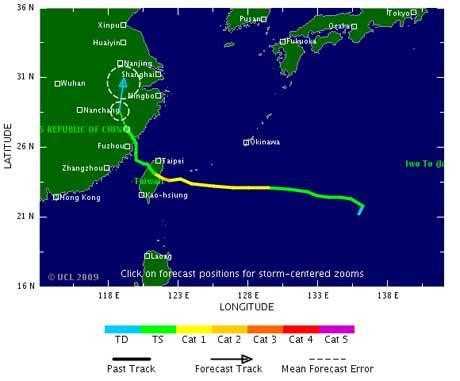 Kartet viser banen Morakot fulgte mot Taiwan. Uværet er nå på vei inn i Kina. (Foto: TSR)