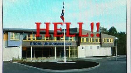 TRUSLER: Høsten 2007 ble det framsatt svært alvorlige trusler mot Erdal skole på Askøy utenfor Bergen. Videoen, som klart truer med drap på elever, ble lagt ut på YouTube. (Foto: Youtube)