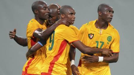 Achille Webo, Achille Emana, Samuel Eto'o og Stephane Mbia.  (Foto: STR/REUTERS)
