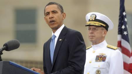 President Barack Obama taler under minnesmarkeringen for 11.   september i Pentagon. (Foto: MICHAEL REYNOLDS/EPA)