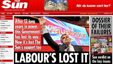 Den britiske avisa The Sun offentliggjorde med fete typer at de nå dropper støtten til statsminister Gordon Brown. (Foto: Faksimile)