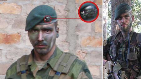 HODESKALLER: Tjostolv Moland og Joshua French brukte under treningen i Uganda bereter med hodeskallesymboler.  (Foto: Privat)