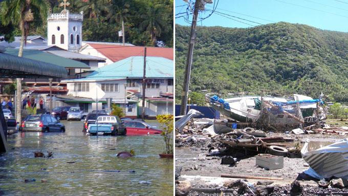 Hovedgaten i byen Fagatogo er oversvømt av vann, mens det også er gjort store skader i hovedstaden Pago Pago på amerikansk Samoa. (Foto: AP)