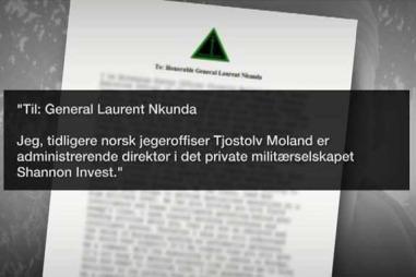 Dette brevet som TV 2 har fått tilgang til viser at Tjostolv Moland ville tilby sine tjenester til general Nkunda i Kongo.