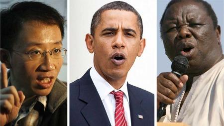 FREDSPRISKANDIDATER: Menneskerettighetsaktivisten Hu Jia, Barack Obama og Morgan Tsvangirai kan være aktuelle som vinnere av årets fredspris. (Foto: Scanpix)