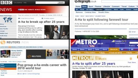 Nyheten om at a-ha gir seg går verden rundt. (Faksimile). (Foto: TV 2)