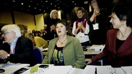 Mimi Bjerkestrand rett etter at hun har blitt valgt til ny leder i Utdanningsforbundet. (Foto: Josefsen, Jon-Michael/Scanpix)