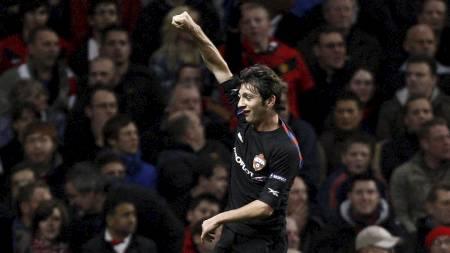 SCORET MOT MAN. UNITED: Alan Dzagojev kunne juble da han scoret i en Mesterliga-kamp mot Manchester United i 2009. (Foto: JON SUPER/AP)