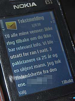 BLE RANET: Denne tekstmeldingen sendte den norsk-iranske forretningsmannen natt til onsdag. (Foto: Kjell Persen)