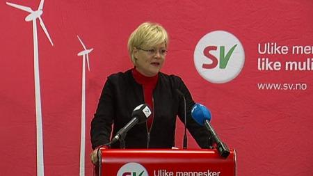 SELVKRITIKK: I sin tale til landsstyret tok SV-leder Kristin Halvorsen selvkritikk for regjeringens håndtering av biodieselsaken.  (Foto: TV 2)