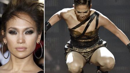 SKADET: Jennifer Lopez falt på rumpa under American Music Awards-showet forrige måned. Nå avslører hun at hun faktisk ble skadet.