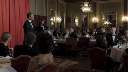 HUMORISTISK: Obama brukte mye humor under talen på Nobelbanketten. (Foto: Susan Walsh/AP)