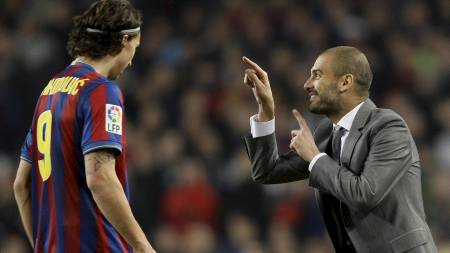Zlatan   Ibrahimovic, Pep (Foto: GUSTAU NACARINO/REUTERS)