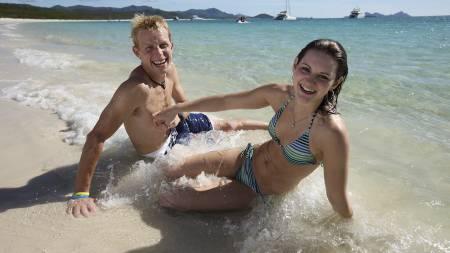Ben Southall sammen med kjæresten sin, Breanna Watkins. (Foto: EDDIE SAFARIK/AFP)