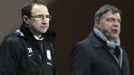 LIGACUPRIVALER: Managerne Martin O'Neill (Aston Villa)   og Sam Allardyce (Blackburn). (Foto: Tim Hales/AP)