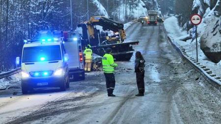 Dødsulykken skjedde mellom Bommestad og Farriseidet i Larvik. (Foto: Bjørn Jakobsen/Østlands-Posten)