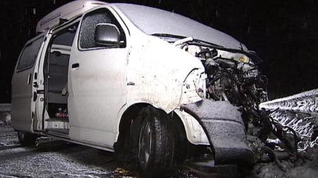 FIKK SKRENS: Fem personer som satt i denne minibussen fikk lettere skader da den kolliderte med et vogntog på E6 i Stange kommune i Hedmark. Minibussen skal ha fått skrens da den kom over i feil veibane. (Foto: Eirik Friestad / TV 2)