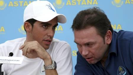 Alberto   Contador og Johan Bruyneel (Foto: JAIME REINA/AFP)