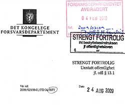 Et hemmelig skriv fra Forsvarsdepartementet viser at det allerede i august 2009 var på det rene at én av de som deltok i aksjonen, var ansatt i Forsvaret. (Foto: Faksimile)