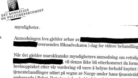 Deler av svaret til UD fra Justisdepartementet.  (Foto: Faksimile)