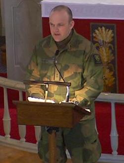 TALTE: Sjefen for Telemark bataljon, Frank Stølan.
