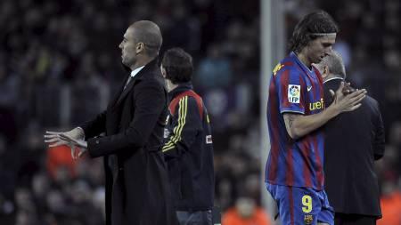 Zlatan Ibrahimovic og Pep Guardiola (Foto: LLUIS GENE/AFP)