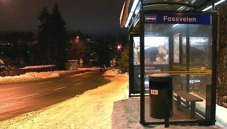 HER BLE KVINNEN BORTFØRT: Den savnede kvinnen var like i nærheten av denne bussholdeplassen da hun med makt ble løftet inn i et bagasjerom i en mørk bil. (Foto: TV 2)