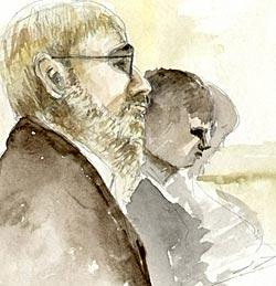 Den muslimske mannen Alen forklarte seg under rettssaken mot Arbeidsformidlingen. (Foto: Rettstegning)