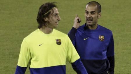 FIENDER: Zlatan og Guardiola. (Foto: Bernat Armangue/AP)