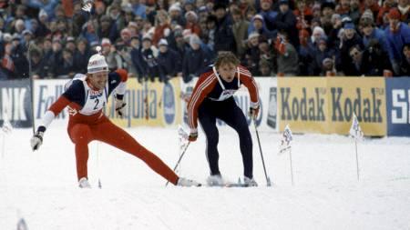 TIDENES STAFETTDRAMA: Oddvar Brå (tv) og Alexander Savjalov (USSR) går likt over mål under VM i Oslo i 1982 etter at Brå brakk staven. Norge og Russland delte gullet. (Foto: Thorberg, Erik/SCANPIX)