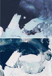 Dette satelittbildet viser hvordan ifjellet bryter seg løs fra Mertz-breen i Antarktis. (Foto: AUSTRALIAN ANTARCTIC DIVISION, ©RAB)