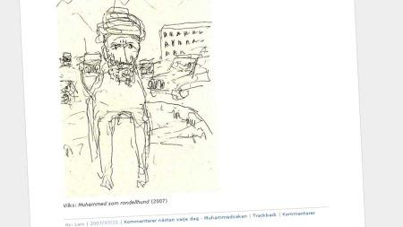 ORIGINALEN: Denne tegningen av Muhammed som hund utløste bråket i 2007. (Foto: Faksimile)