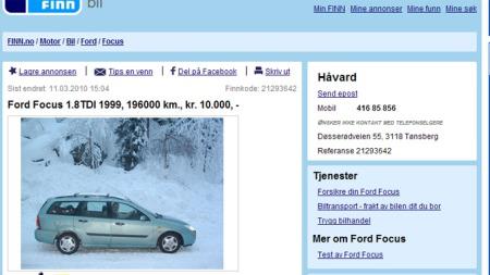 Håvard fra Tønsberg er mannen bak årets ærligste bilannonse. Faksimile fra finn.no