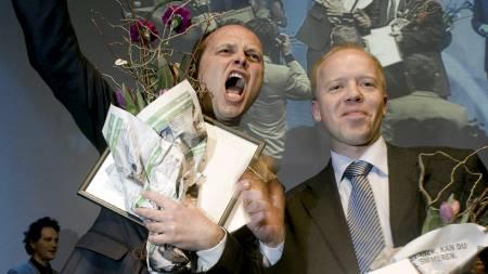 GLADE DN-JOURNALISTER: Gøran Skaalmo og Trond Sundnes. (Foto: Bjørn Grimstad / SKUP/SCANPIX)