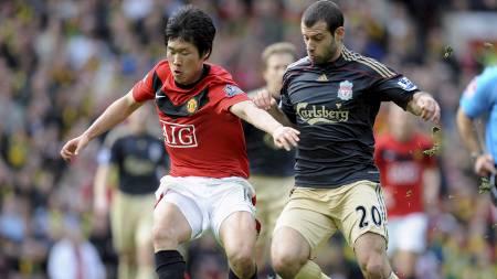 SCORET: Ji Sung Park scoret for United. (Foto: RUSSELL CHEYNE/REUTERS)