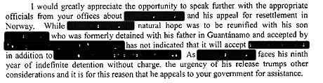 I brevet fra kvinnen som representerer Guantánamofangen oppfordres norske myndigheter til å bidra til at mannen fra Midtøsten løslates fra fangebasen snarest mulig. (Foto: Faksimile)